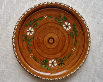 Vintage Alsace French Pottery Plate - Wood Grain with Hand Painted Decoration