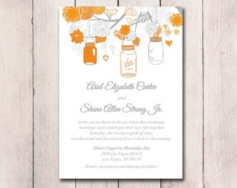 Rustic Wedding - Printable Invitation Template - Mason Jar Invitation Orange Gray Wedding - Printable Wedding Instant Download