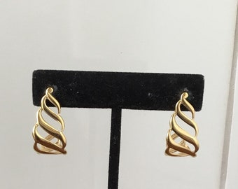 Vintage 1990's Monet Gold Tone Hoops with Cut Out Design Pierced Earrings