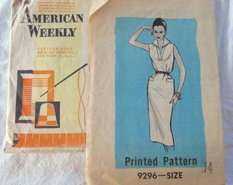 vintage AMERICAN WEEKLY women's dress pattern no. 9296 --size 14 (1950s)