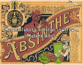 Madame Talbot's Victorian Lowbrow Absinthe Devil Skeleton Poster