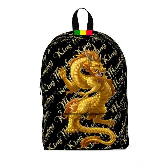 King Monkey Unisex Classic Backpack  Gold Dragon
