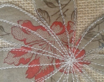 Machine Embroidered Art Textile Horse Chestnut Leaf Picture