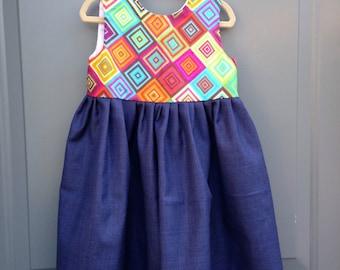 Rainbow/denim dress - Discounted
