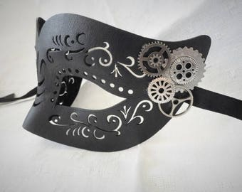 Steampunk Black Leather Mask Masquerade