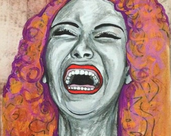 Mixed media painting laughing woman