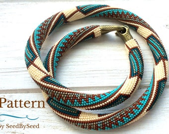 Bead Crochet PATTERN, Aztec Native American seed bead knitted necklace and bracelet pattern