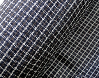 Tartan wool blend fabric, stretch wool cloth in dark brown black, sewing supplies, natural wool fabric, sold by 1/2 yard