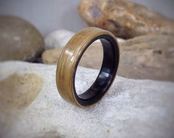 Ebony & Oak Bent Wood Ring - Made to order - All US and UK Ring Sizes