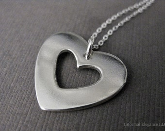 Two Hearts in One, Sterling Silver Pendant and Chain, Double Heart necklace, Love necklace, Valentines Day