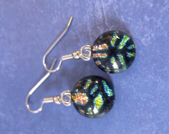Multicolored Earrings, Dangle Hypoallergenic Earrings, Dichroic Geometric Earrings, Casual Jewelry, Fused Glass Jewelry - Dafne - 377 -4