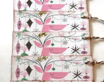 Retro Christmas Tags Gift Vintage Inspired Reindeer MCM Kitsch Set of 6