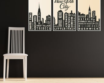 Travel Art Print New York City Art Skyline Living Room Decor Modern Art Hipster Decor Gift for Traveler