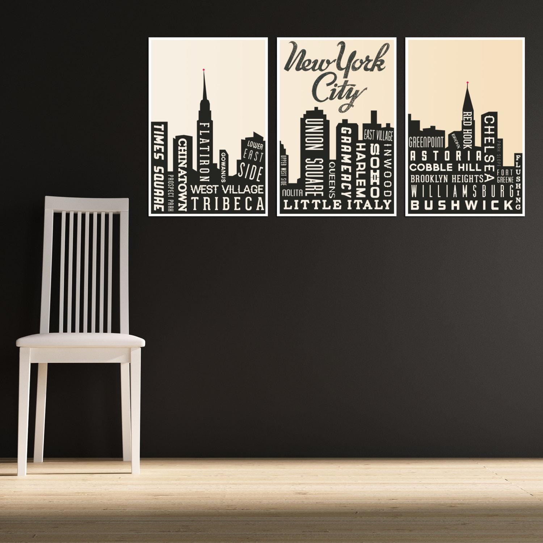 Travel Art Print New York City Art Skyline Living Room Decor