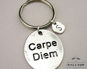 Carpe Diem Keychain, Sieze the Day Keychain, Carpe Diem Charm, Charm Keychain, Initial Charm,Silver Plated,Personalized Gift,Monogram,CTX020