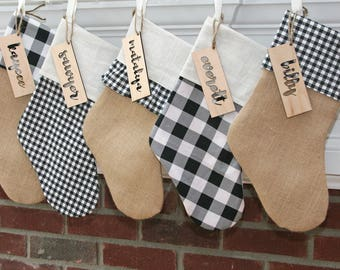 Farmhouse Christmas Decor - Christmas Stocking - Burlap Stocking - Buffalo Plaid - Handmade stocking