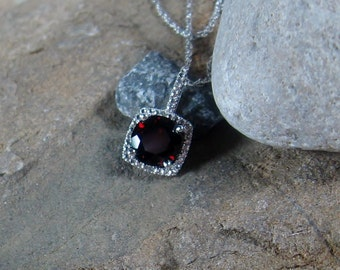 Ruby Pendant, Sterling Silver with Inlaid Diamonds, Gemstone Necklace, Gifts for Her