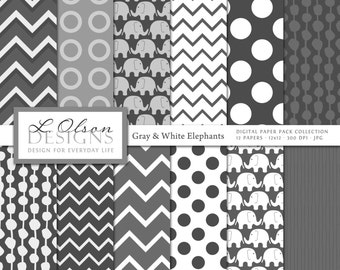 Gray and White Elephant Paper Pack - 12 digital paper patterns - INSTANT DOWNLOAD