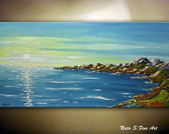 """Contemporary Seascape Painting 48"""" Sea Scenes Beach Scene Waterscape Modern Textured Art Ocean Painting Abstract Sunrise Painting by Nata S."""