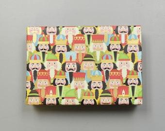 Nutcracker Faces Christmas Wrapping Paper, 2 Feet x 10 Feet