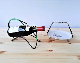 Stylish Wine Bottle Holder and Serving Dish Holder with Spenzo Plate - 50s Collectible