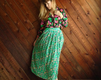 Bright Floral Printed Midi Skirt Vintage Early 90s High Waist with Pockets SMALL S