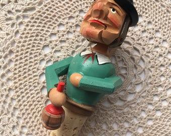 Vintage Mechanical Carved German Bottle Stopper