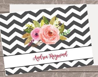 Floral black and white  note card, personalized stationery, note cards ,custom note cards, folded note cards, monogram note cards,