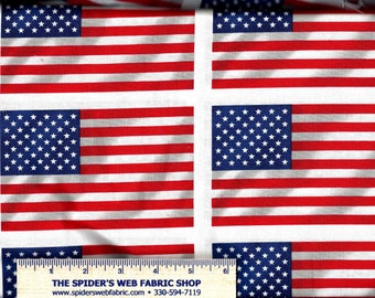 American WAVING FLAGS  USA Patriotic - 4th of July - Decoration Day - Optical Illusion - Quilt Shop Quality 100% Cotton Fabric - eq61118-10