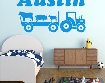 """Tractor / Trailer and ANY NAME Personalised Boys Girls Childrens Bedroom Playroom Vinyl Wall Art Sticker Decal Transfer *20 colours"""""""