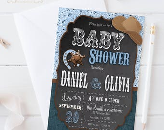 Cowboy Baby Shower Invitation / Digital Printable Baby Shower Invite / DIY Western Party