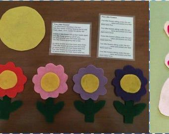 Five Little Flowers & Five Little Carrots - Children's Felt / Flannel Story for Early Childhood Education
