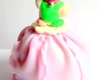 Piggy bank custom made/hand/fimo/cardboard/figurine/miniature/maneki neko/pink/glitter/green/neon/idea gift/Christmas/lucky charm