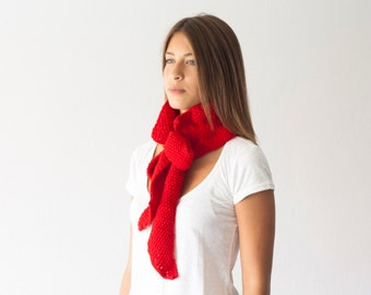 Sales Red knit bow collar knit scarf neckwarmer cowl scarf neck warmer scarf with pleats