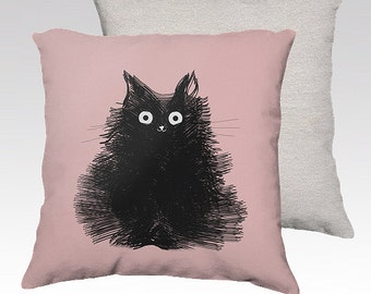 Cat Pillow Black Cat Pillowcase Cover Decorative Throw Pillows Illustration Drawing Pink Pillow 18x18 or 22x22 Pillow Cover - Duster
