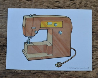 Vintage 1980s Educational Ephemera Scrapbooking Picture Print Flash Card - Sewing Machine