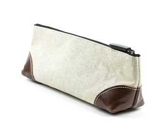 Big bag in a linen/leather combination