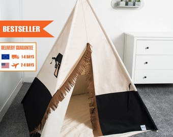 children's teepee tent, kids play tent, tipi, teepee tent, kids teepee set 4 elements indian wigwam black