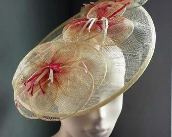 Womens Ivory Flower Hat Royal Ascot Racing