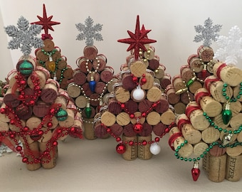 Wine cork Christmas Tree.....Upcycled  Cork Christmas Decorations,  Medium Tree
