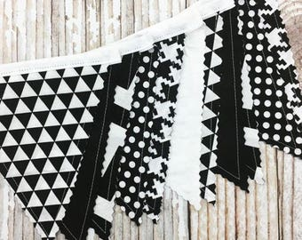"Fabric Bunting Decoration ""Monochrome""  Nursery Decor, Party Decoration, Fabric Flag Bunting, Flag Garland, Fabric Garland, Fabric Pennant"