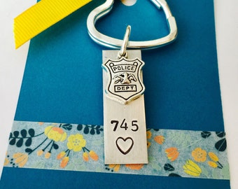 Police Officer Keychain,  Police  Keychain, Hand Stamped Police Keychain, Badge Number Keychain, Shield Keychain, Wife of Police Officer