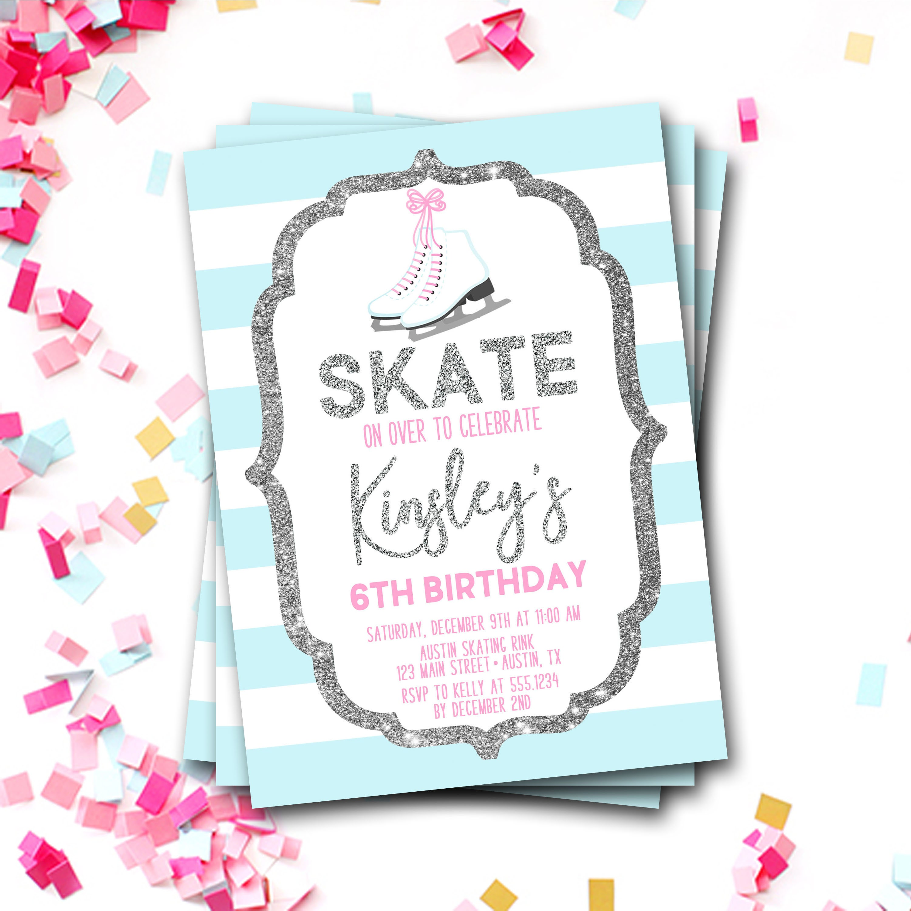 Ice Skating Birthday Invitation Ice Skating Invite Ice Skating