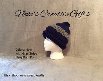 NAVY with GRAY STRIPE  -  Cozy Winter Hat  -  Your Choice of Pom Pom