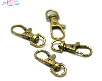 4 large key hooks swivel, 38 x 15 mm, bronze
