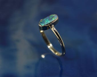 Solid Black Opal Stone set in 14k Solid Gold Ring