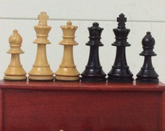 Vintage Chess Set~Boxwood~Complete in Pine Box~Chess Pieces~Staunton~