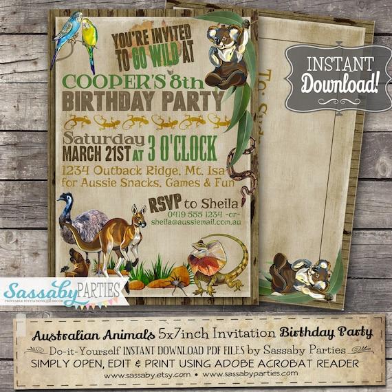 Australian animals birthday invitation instant download solutioingenieria Images