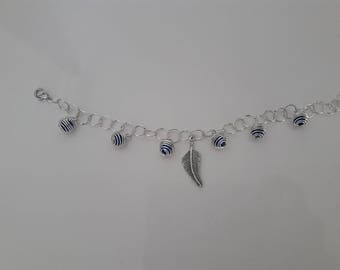 Silver and midnight blue bracelet