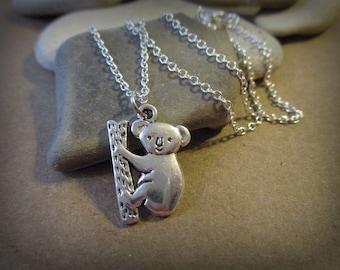 Tiny 925 Sterling Silver Koala Necklace | Dainty | Delicate Necklace | Australia | Minimalist Necklace | Koala Bear | Koala Charms | Bamboo